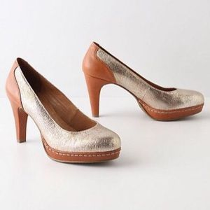 Anthropologie Earth & Gold Heels NEW